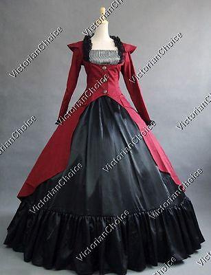 Victorian Dark Gothic Military Dress Vampire Steampunk Halloween Costume N 167 - Women's Victorian Vampire Goth Dress Halloween Costume