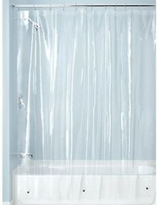 InterDesign PVC-Free PEVA 3-Gauge Shower Curtain Liner, 183 x 183 cm - Clear