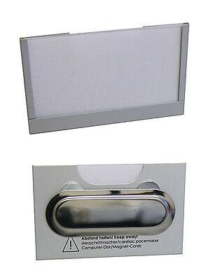 10x Namensschild Namensschilder Ausweishülle Aluminium mit Magnet 90x57mm NEU