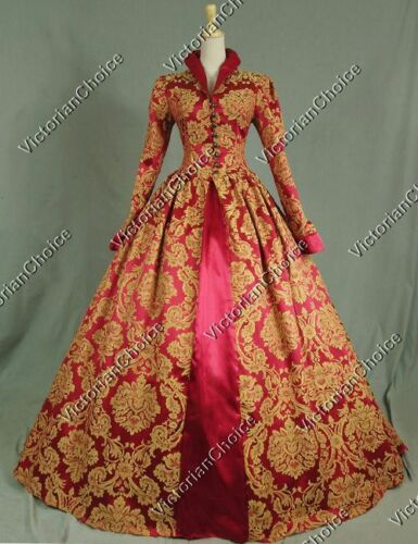 Renaissance Queen Elizabethan Brocade Dress Vampire Halloween Costume  162