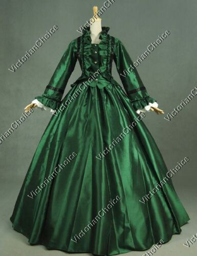 Victorian Green Dickens Faire Dress Ball Gown Theatrical Quality Costume 170