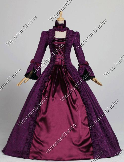 Renaissance Colonial Queen Gothic Holiday Party Gown Dres...
