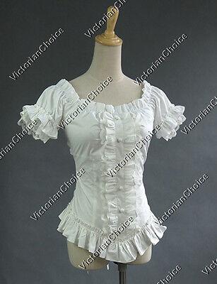 Women Victorian White Vintage Lolita Blouse Shirt Top Cosplay Reenactment N B123