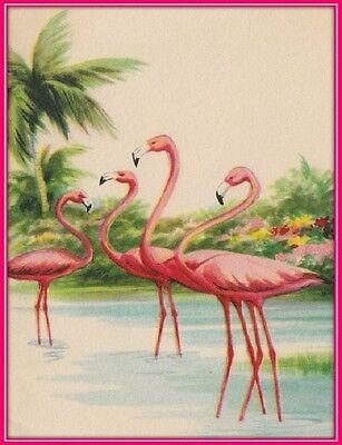30 Custom Vintage Flamingo Art Personalized Address Labels