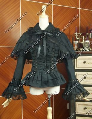 Victorian Edwardian Gothic Black Cotton Blouse Steampunk Shirt Cape N B019