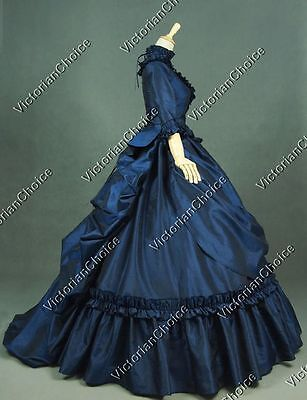 Victorian Bustle Fairytale Queen Gown Masquerade Dress Steampunk Theater 330 - Fairytale Mask