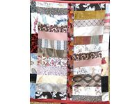 HOMEMADE PATCHWORK THROW - AUTUMN OUTBACK £15 Red, Brown, Orange -Ideal for Sofa, Bed or Picnic Rug