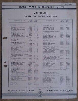 "Vauxhall 25hp ""G"" model 1938    Lucas Parts List 335"