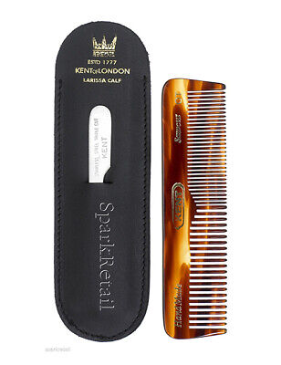 Kent NU19 Sawcut Small Womens Mens Fine Coarse Tooth Comb With Nail File & Case