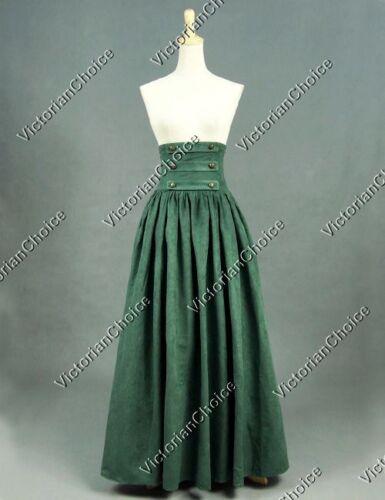 Victorian Edwardian Green Walking Skirt Theatre Cosplay Steampunk Wear K187