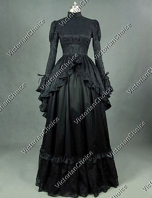 Edwardian Black Witch Queen Dress Theatre Steampunk Women Halloween Costume 324