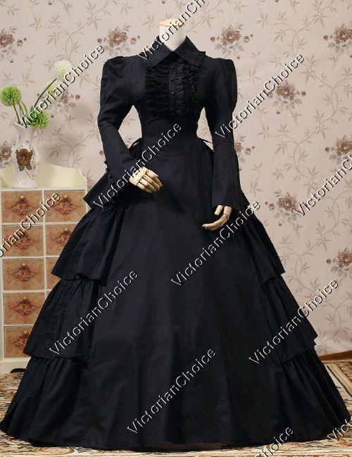 Gothic Victorian Black Cotton Dress Steampunk Theater Ree...