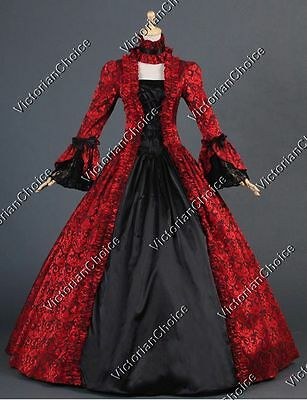 Victorian Georgian Brocade Masquerade Dress Gown Steampunk Punk Clothing 138 XXL (Victorian Costumes)