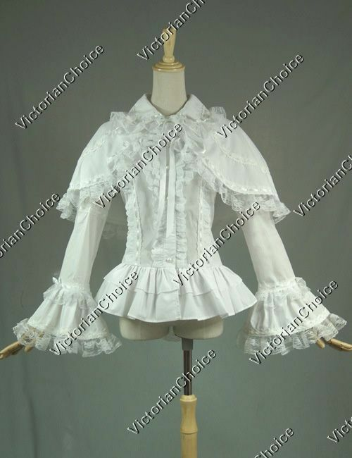 Victorian White Lace Witch Lolita Blouse Shirt Theater Ha...