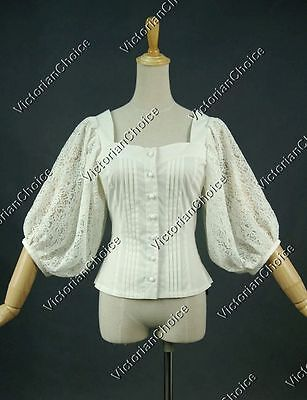 Victorian Gothic Lace Cotton Blouse Shirt Ghost Steampunk Costume N B026 XXL