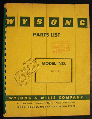 Wysong 1010 Hd Power Shear Parts List Manual 1968