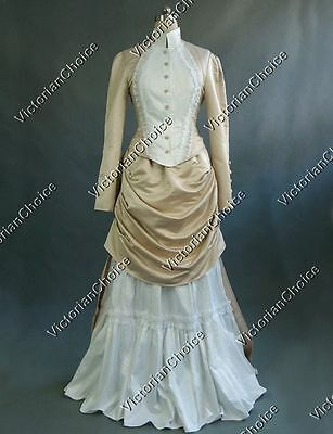 Satin Victorian Dress (Victorian Bustle Riding Habit Noel Holiday Bridal Gown Dress Theater Costume)
