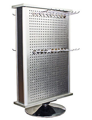 Aluminum 2 Sided Display Rack Spinner Accessory Jewelry Countertop Rack W Hooks