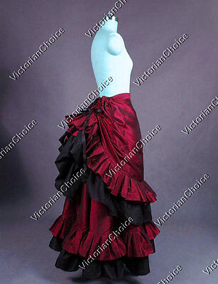 Victorian Dickens Christmas Pleated Bustle Walking Skirt Theatre Clothing K034 L