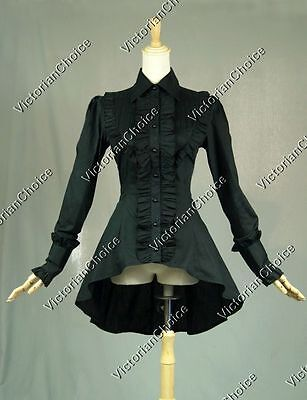 Victorian Gothic Women Black Cotton Blouse Shirt Top Theater Steampunk Punk B007](Steampunk Clothes For Women)