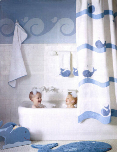 New in Package Pottery Barn Kids Blue Whale Bath Collection Shower Curtain NIP