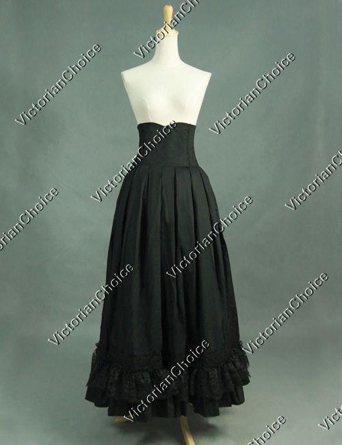 Victorian Edwardian Black Walking Skirt Steampunk Period ...