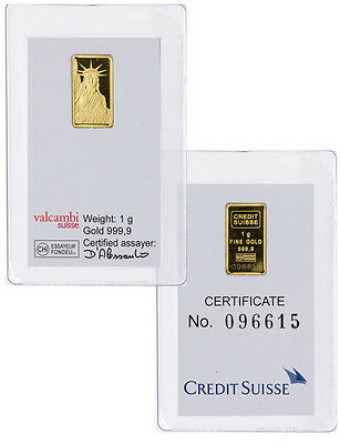 Credit Suisse 1 Gram  9999 Gold Bar   New Sealed With Assay Certificate Sku26513