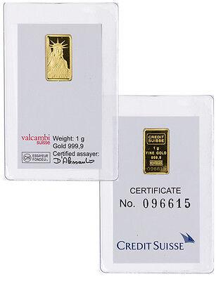 Credit Suisse 1 Gram  9999 Gold Bar   New Sealed With Assay Certificate Sku26513