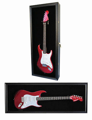UV Protection Fender/Electric Guitar Display Case Shadow Box, Lock GTAR2(BL)