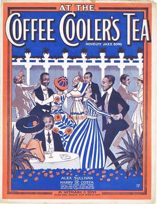 VINTAGE SCARCE 1918 BLACK AMERICANA SHEET MUSIC AT THE COFFEE COOLERS TEA NICE!
