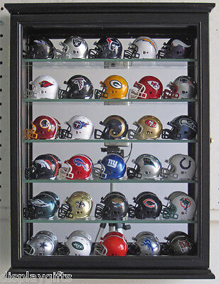 Pocket Pro Mini Helmet Display Case Wall Curio Cabinet Shadow Box, CD06B-BLA
