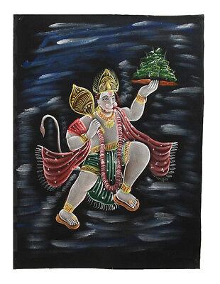 Batik Fabric Dieu Hindu Hanuman King of Monkeys Painted 70x52cm Handmade 11