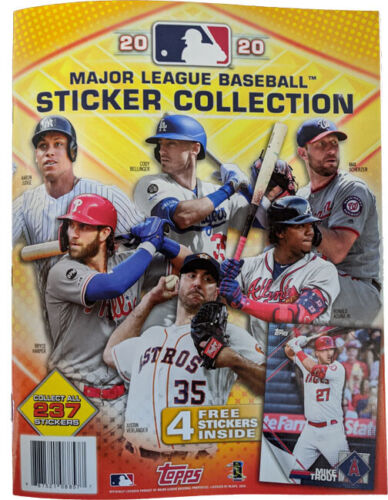 Topps 2020 Mlb Baseball Sticker Collection Album With 4 Stickers