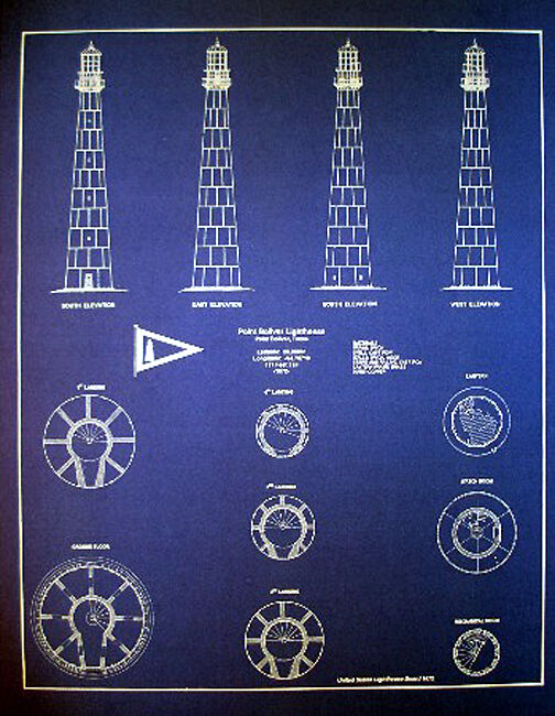 "Texas Coast Lighthouse Board 1872 Blueprint Plan 16""x20"" (194)"