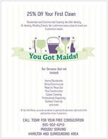 You Got Maids! Proudly Serving Hamilton and Surrounding Area