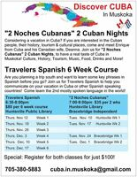 Travelers SPANISH 6 week course with Discover CUBA in Muskoka