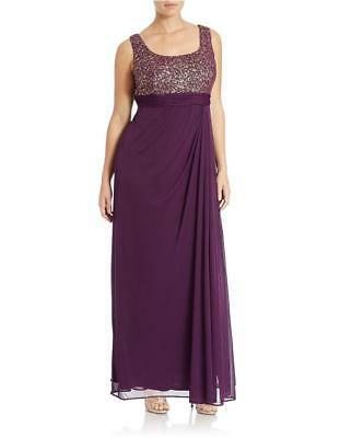 ALEX EVENINGS Women's Plumberry Metallic Print Chiffon Ruched Gown NWT 6