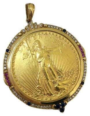 Gold Pure Coin 18k Yellow Sapphire Diamonds Pendant