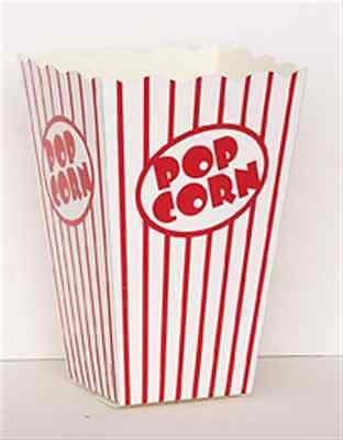 Large Popcorn Boxes (10 POPCORN BOXES LARGE RED AND WHITE HOLLYWOOD PARTY CELEBRATIONS)
