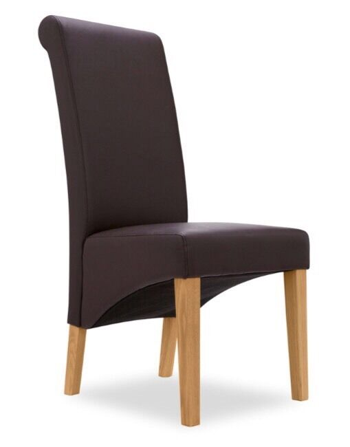 Next Harlow Faux Leather Roll Back Dining Chairs X 4 Dark Brown