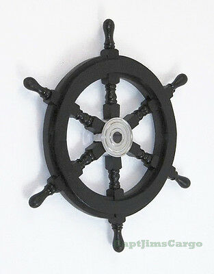 """Black Pirate Ship's Steering Wheel 18"""" Wooden Nautical Wall Decor New"""