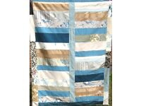 HOMEMADE PATCHWORK THROW - TURQUOISE SPRING £20 - Ideal for a Sofa, Bed or Picnic Rug