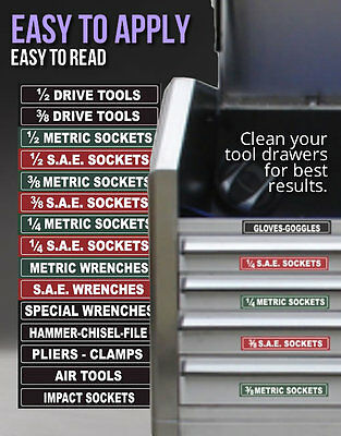 TOOL BOX LABELS Organize Wrenches Sockets & Cabinets fast & easy - Green Edition
