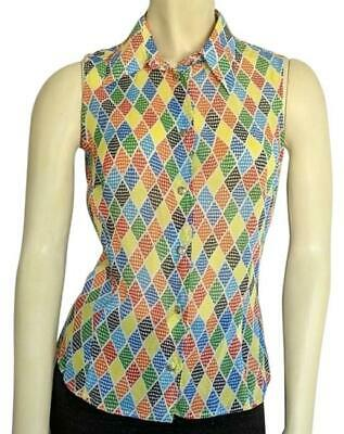 VERSACE Jeans Women Size XS 90's Multi Color Harlequin Button Down Blouse Rare