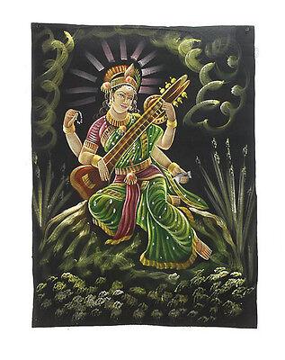 Batik Fabric of Saraswati Painted 70x52cm Handmade Hanging Wall 04
