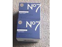2x No 7 lift / laminate night cream triple action 50 ml times two boxes 100 ml