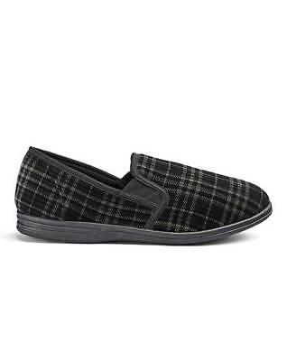 Mens Black Classic Slippers- Standard Fit UK 12 EU 46 JS089 SS 07