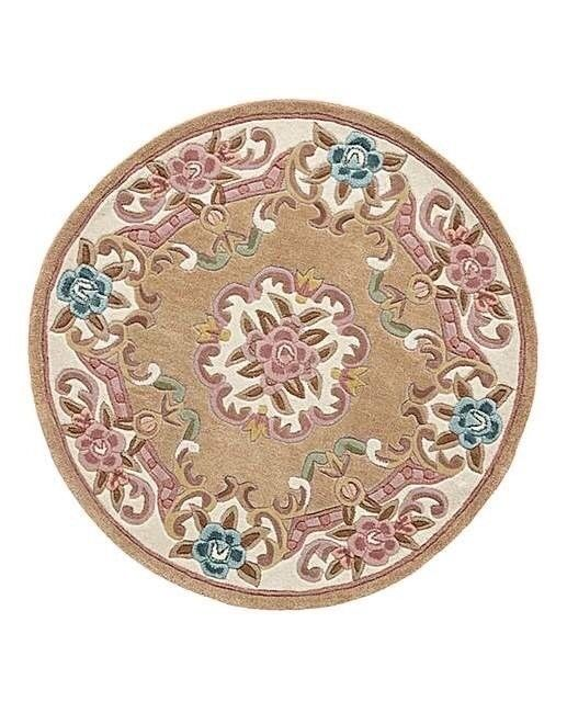 Brand New Still In Sealed Package Dynasty 100 Wool Round Rug Carved Design Mink