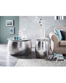 Steel coffee and side table