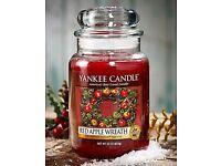 "Yankee Candle ""Red Apple Wreath"" LARGE Jar (22oz) NEW/SEALED"
